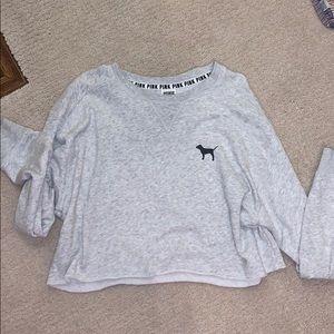 PINK Light Grey Cropped Crew Neck Sweatshirt